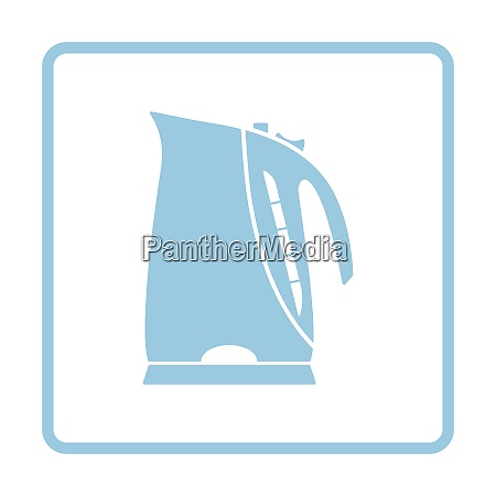 kitchen electric kettle icon blue frame
