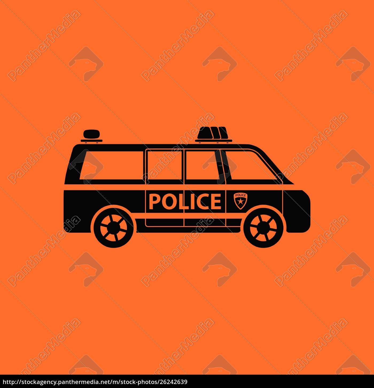 police, van, icon., orange, background, with - 26242639