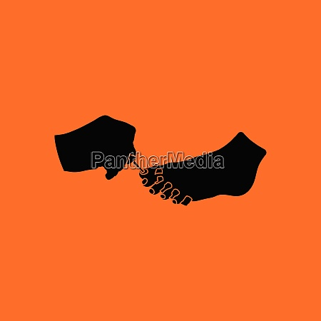 pedicure icon orange background with black