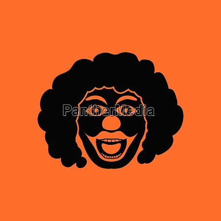 party clown face icon orange background