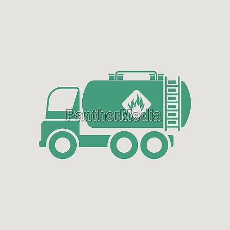 fuel tank truck icon gray background