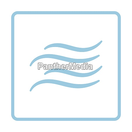 water wave icon blue frame design