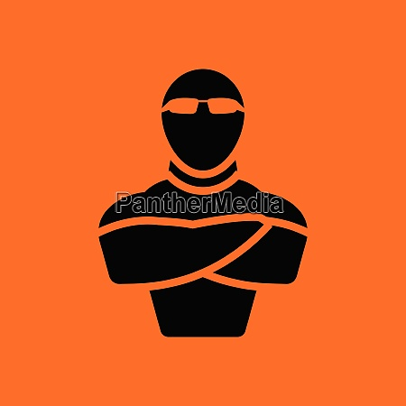 night club security icon orange background