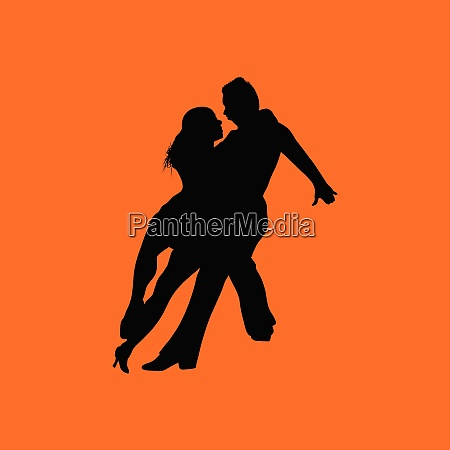 dancing pair icon orange background with