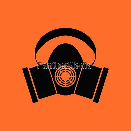 dust protection mask icon orange background