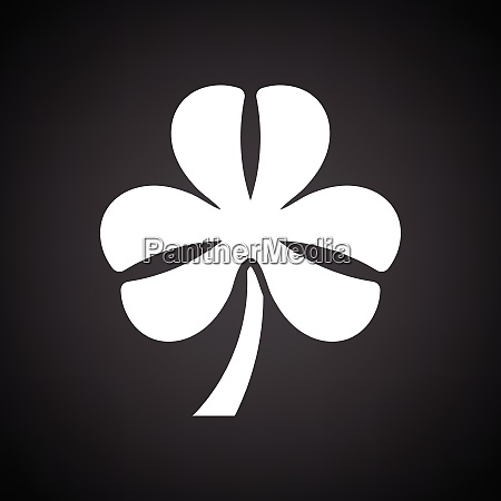 shamrock icon black background with white
