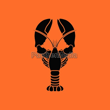 lobster icon orange background with black