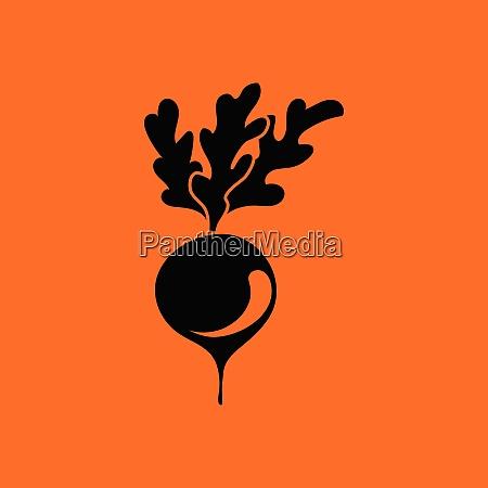 radishes icon orange background with black