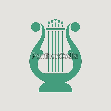 lyre icon gray background with green