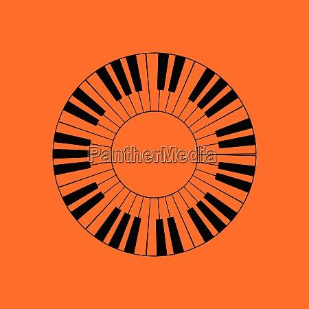 piano circle keyboard icon orange background
