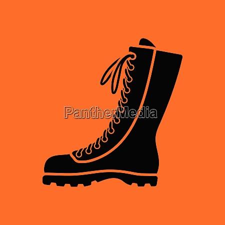 hiking boot icon orange background with