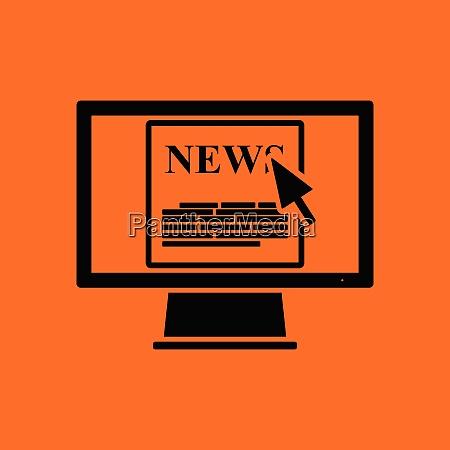 monitor with news icon orange background