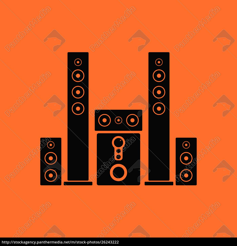 audio, system, speakers, icon., orange, background - 26243222