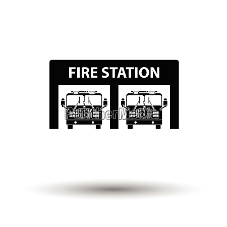 fire station icon white background with