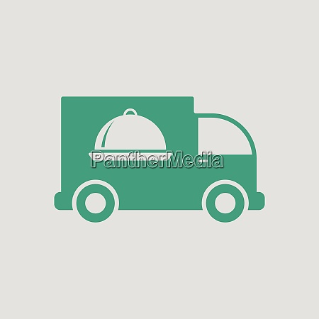 delivering car icon gray background with
