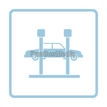car lift icon blue frame design