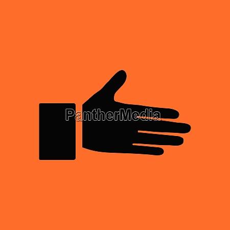 open hend icon orange background with