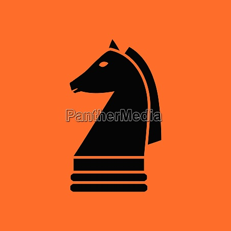 chess horse icon orange background with