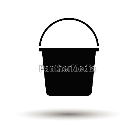 bucket icon white background with shadow
