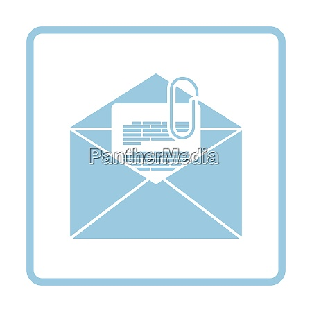 mail with attachment icon blue frame