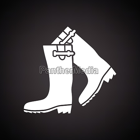 hunters rubber boots icon black background