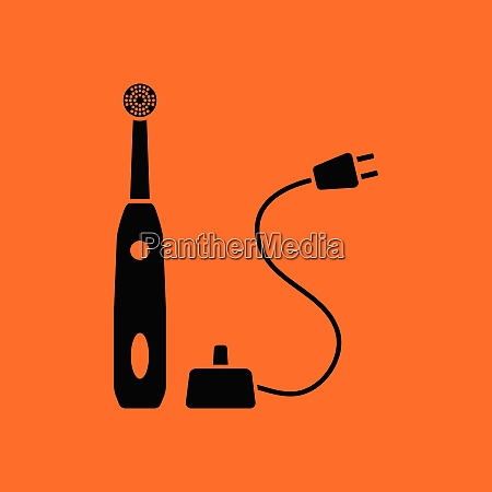 electric toothbrush icon orange background with