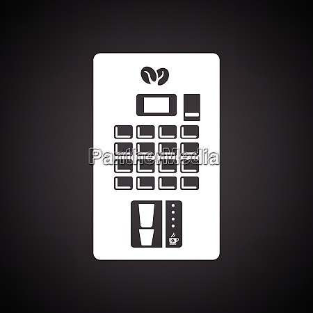 coffee selling machine icon black background