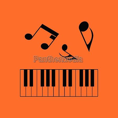 piano keyboard icon orange background with