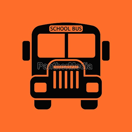 school bus icon orange background with