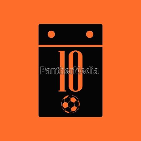 soccer calendar icon orange background with
