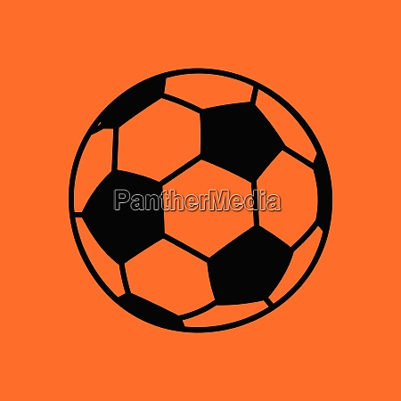 soccer ball icon orange background with
