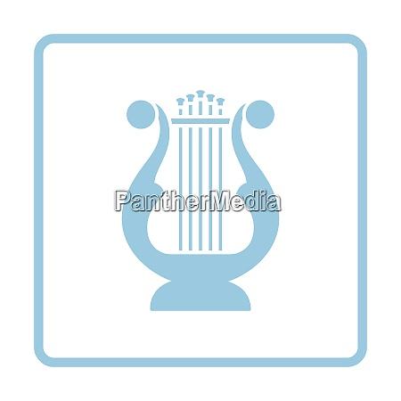 lyre icon blue frame design vector