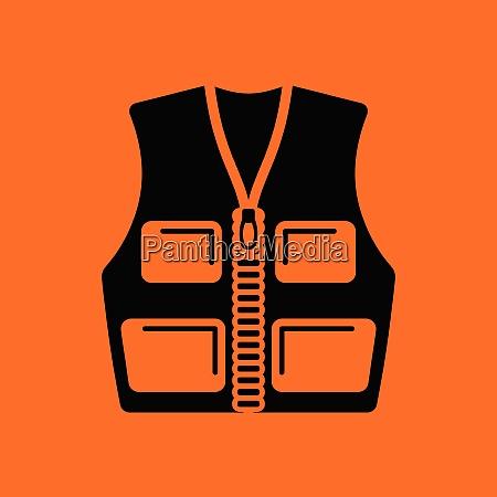 hunter vest icon orange background with