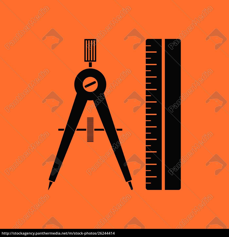 compasses, and, scale, icon., orange, background - 26244414