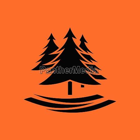 fir forest icon orange background