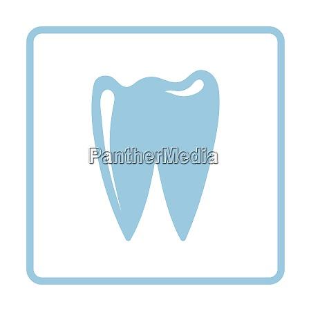 tooth icon blue frame design vector