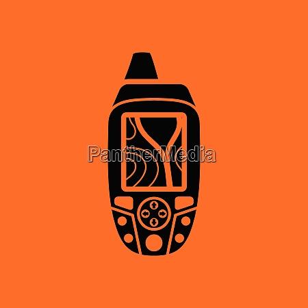 portable gps device icon orange background