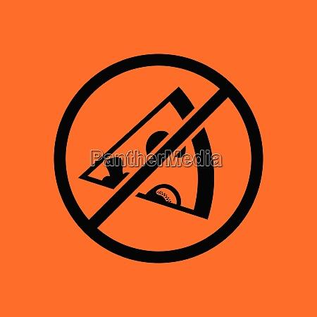 prohibited pizza icon orange background with