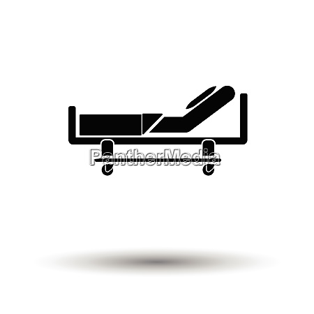 hospital bed icon white background with