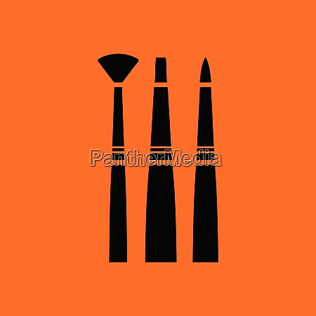 paint brushes set icon orange background