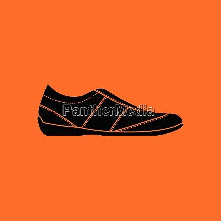 man casual shoe icon orange background