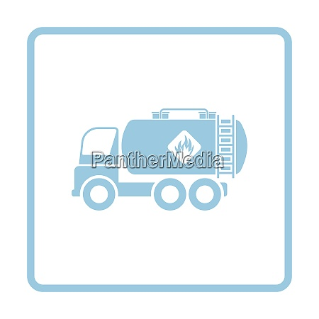 fuel tank truck icon blue frame