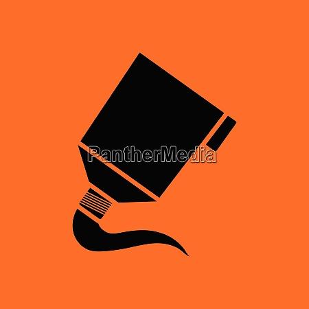 paint tube icon orange background with