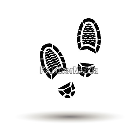 man footprint icon white background with