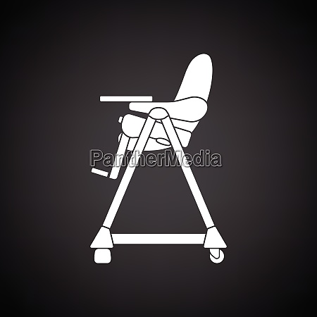 baby high chair icon black background