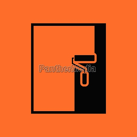 wall painting icon orange background with