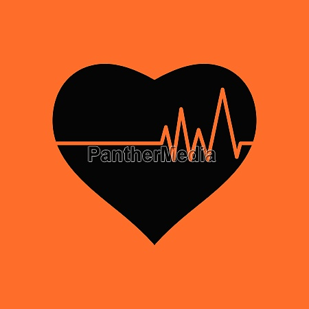 heart with cardio diagram icon orange