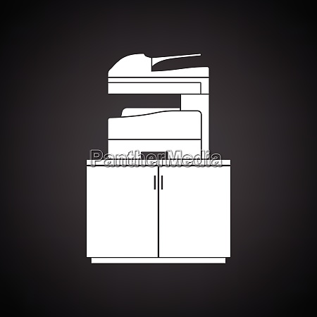 copying machine icon black background with