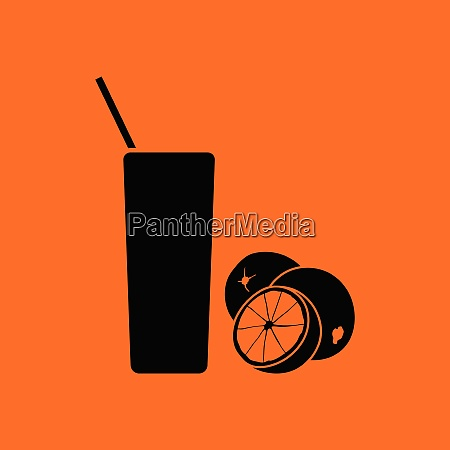 orange juice glass icon orange background