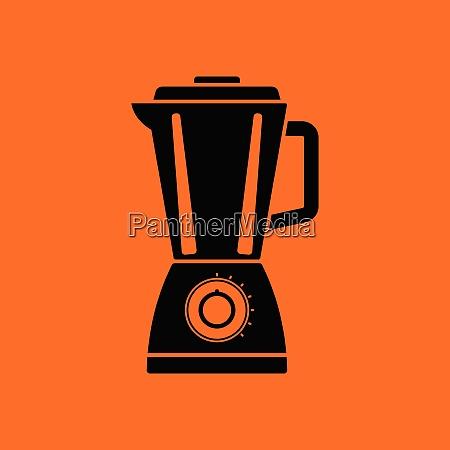 kitchen blender icon orange background with